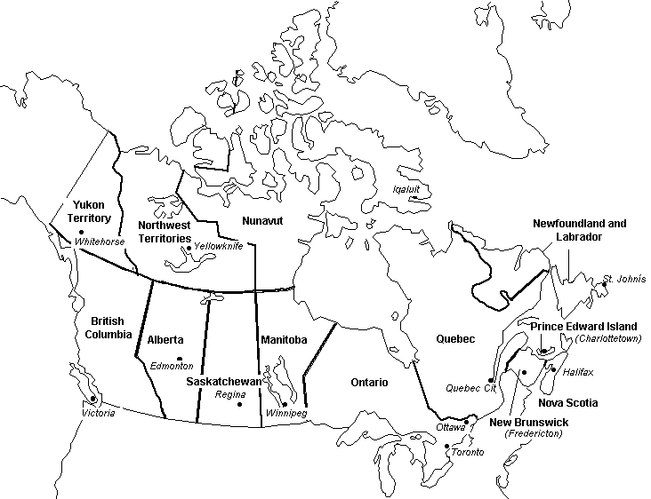Canada Political Map Outline CanadaInfo: Images & Downloads: Fact Sheets to Download: Maps