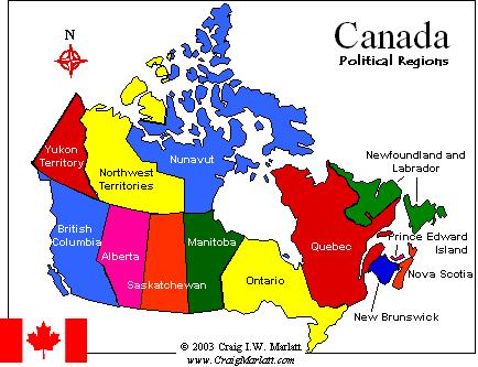 Map Of Canada Provinces And Territories CanadaInfo: Provinces & Territories