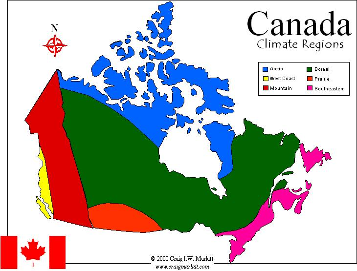 Canada Climate Map CanadaInfo: Geography & Maps: Maps: Climate